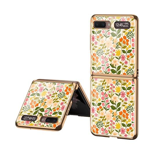 Estuche plegable de vidrio para teléfono móvil adecuado para Samsung Galaxy Z Flip 5G Pintado, plegable, creativo, para negocios, teléfono, protege el borde del revestimiento de la carcasa