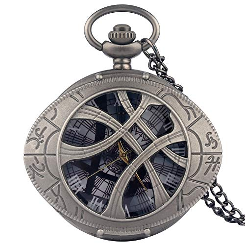 Trendy Gun Zwart Quartz Pocket Horloge voor Mannen, Grote Wijzerplaat met Romeinse cijfers Pocket Horloges voor Vriendje, Utility Slim Chain Hanger Horloge voor Tieners