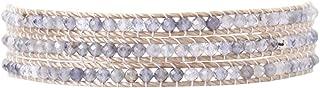 Leather Wrap Three Row Semi Precious Stones Bracelet