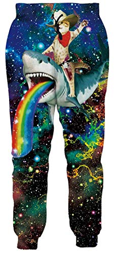 Unisex 3D Graphic Jogger Pants Lightweight Comfortable Baggy Sweatpants with Drawstring Pockets S-XXL A3-cat Riding Shark M