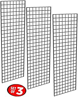 Only Garment Racks - Commercial Grade Gridwall Panels – Heavy Duty Grid Panel for Any Retail Display, 2' Width x 6' Height, 3 Gridwall Panels Per Carton (Black Finish)