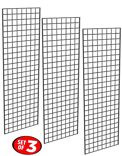2 x 6 ft Black. 3 On Center 3-Pack Wire Grid Panel Display