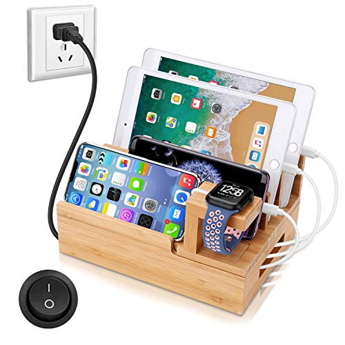 OthoKing Charging Station Organizer,Fast Charging Station for Multiple Device 5-Port USB Bamboo Wood Charging Dock,Universal Apple Watch Phone Pad and Android Like Samsung Cell Phones & Tablets