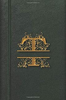 T: Monogram Cute Initial Notebook Journal Diary for Women Girls and School 6 x 9 Lined Fake Leather Golden Letter Vintage