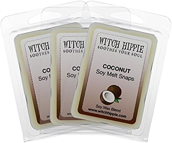 Witch Hippie Coconut Scented Wickless Candle Tarts 3 Pack 18 Natural Soy Wax Cubes A Delightful Fresh Coconut Aroma That Reminds You Of Suntan Lotion