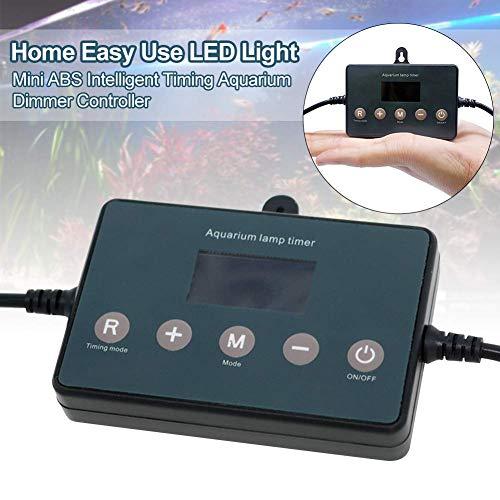 xiegons0 Acuario Regulador Regulador de Luz LED para pecera de la Casa Modulador Inteligente de la Lámpara de Temporización Accesorios Pantalla LCD sy Uso Elevación Ajuste de Brillo ABS Mini 12-24V