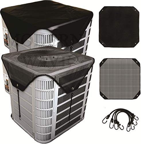 """MODERN WAVE - 2 (Two) Central Air Conditioner Covers Set for Outside Units 36 x 36 - Top Universal mesh and Winter Waterproof Outdoor AC Defender Set (36"""" x 36"""")"""