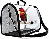 Bolsa de Transporte para Loros y pájaros, Jaula para pájaros de Viaje portátil, Jaula de Viaje para pájaros Liviana, Bolso de Loro Transpirable Transparente de PVC con un Palo de Madera (Negro)