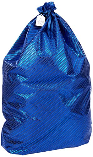 K-Kraft Extra Large Jumbo Giant Gift Wrap Bag, Eco-Friendly Reusable Solution Hanukkah, Christmas, Birthdays (Festive Blue Stripes, 36 x 44 inches)