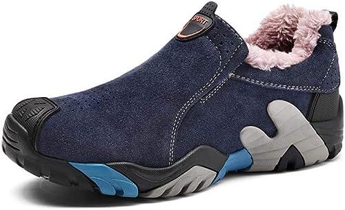 HYLFF Chaussures de randonnée pour Hommes, Bottines Chaudes pour l'hiver, l'hiver, Chaussures de randonnée en Plein air, Bottes de sécurité imperméables en Cuir antidérapantes  contre authentique