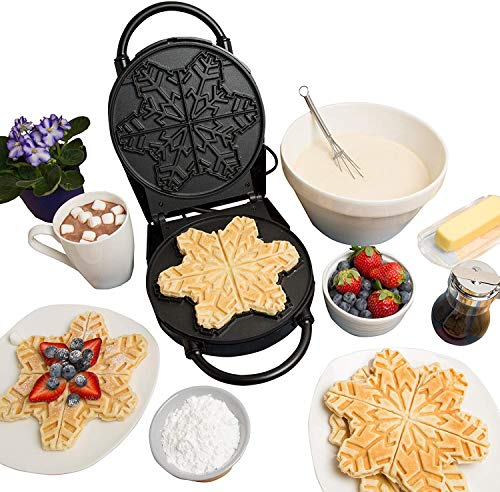 For Sale! Snowflake Waffle Maker- Non-Stick Winter Holiday Waffler Iron Griddle w Adjustable Brownin...