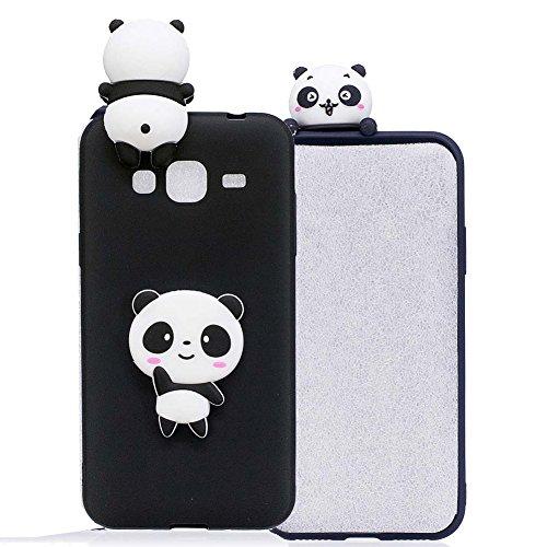 Aeeque Galaxy J3 Cover 3D Cartoon Panda Modello Della [Liscio Sfondo Nero] Caso di Disegno Sottile TPU Flessibile Silicone Protezione Unico Colore Custodia per Samsung Galaxy J3/J3 (2016) 5 Pollici