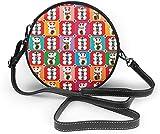 BAODANLA Bolso redondo mujer Round Crossbody Bag Maneki Neko Flag Japanese Style Crossbody Wallet PU Leather Zipper Shoulder Bag Sling Bag