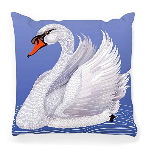 Funda de Cojine Funda de almohada decorativa Cisne blanco Pintura de aves acuáticas Animal Pico Belleza Azul Cob Color Elegancia Pluma Imagen de gracia Lago Mudo Throw Cojín 45X45CM