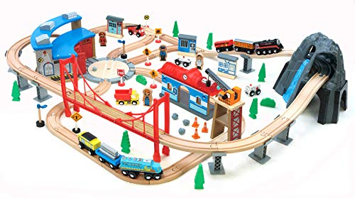 Maxim 100 pc Mountain Wooden Train Set with Roundhouse for Toddler with Double-Side Train Tracks Fits Brio, Thomas, Melissa and Doug, Kids Wood Toy Train for 3,4,5 Year Old Boys and Girls