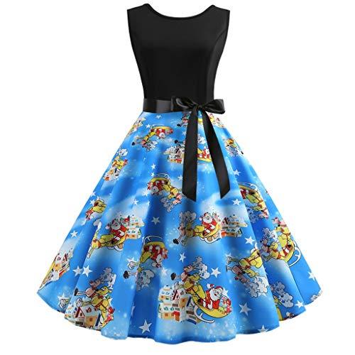 Holeider Damen Kleider Elegant Weihnachtskleid 50er Jahre Retro Vintage Ärmellos Rockabilly Kleid Cocktailkleider Große Größen Hepburn Swing Festliches Kleid Abendkleid