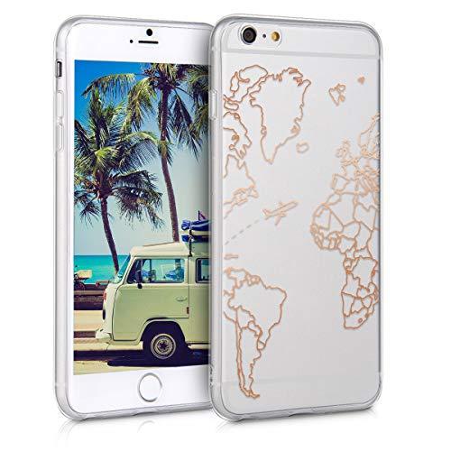 kwmobile Cover Compatibile con Apple iPhone 6 Plus / 6S Plus - Back Case Custodia Posteriore in Silicone TPU per Smartphone - Backcover Travel & Explore Oro Rosa/Trasparente