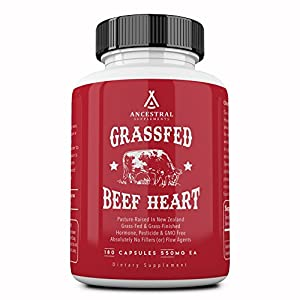 Ancestral Supplements Grass Fed Beef Heart (Desiccated) — Natural CoQ10, Supports Heart, Mitochondrial and Blood Pressure Health (180 Capsules)