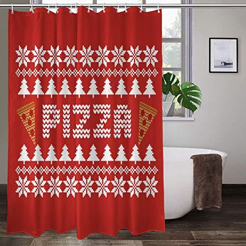 Weihnachtlicher Pizza-Duschvorhang mit 12 Haken, dekorativer Badvorhang, moderne Badezimmer-Dekoration, 178 x 178 cm