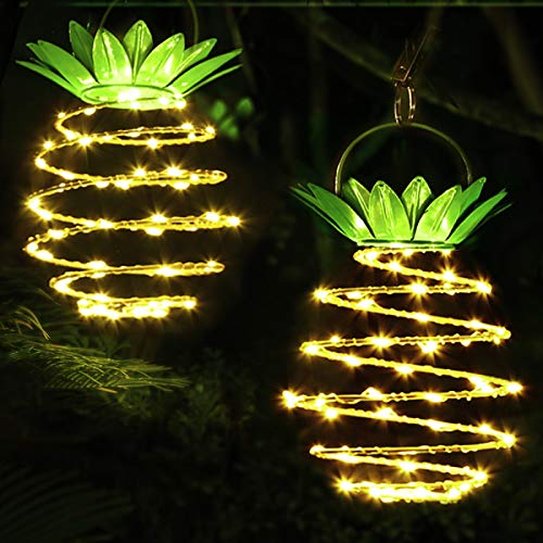 Solar Hanging Light Outdoor,60 LED Bright Garden Decorative Landscape Solar Lanterns Waterproof Hanging Pineapple Lamp for Tree Path Balcony Lawn Patio Yard Warm White 2 Pack