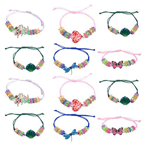 NUOBESTY 12 peças de pulseiras de contas trançadas ajustáveis, pulseiras de amizade para crianças, meninas, estilo misto
