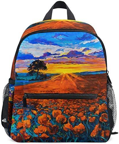 NB UUD Mini Backpack Oil Painting Poppy Flower Daily Backpack for Travel