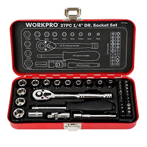 WORKPRO ソケットレンチセット ガレージツールセット ラチェットレンチ 差込角6.35mm(1/4インチ) クイッ...