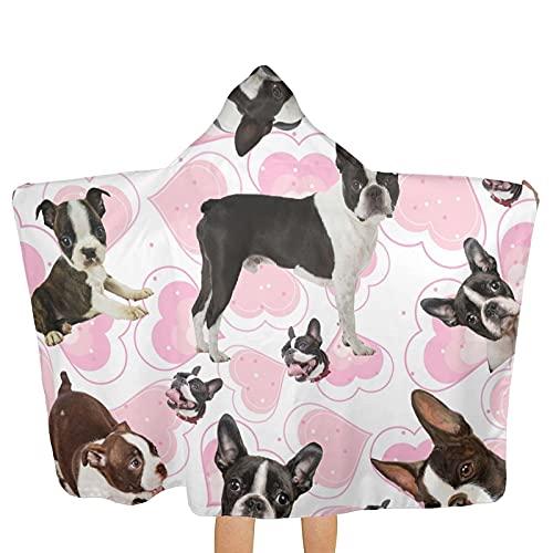 Bingyingne Boston Terrier - Toallas con Capucha para niños, Tipo Poncho, Ultra Suaves, Extra Grandes, de Secado rápido, para la Playa, para Nadar, con Capucha, para niños y niñas