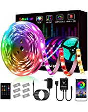 Tiras LED, L8star Tiras de Luces LED Smart 5050 Control APP,Luces Led Habitacion con Controlador Bluetooth Sincronizar, con Música Solicitar TV Dormitorio (5M)
