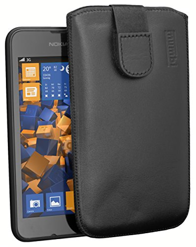 mumbi Echt Ledertasche kompatibel mit Nokia Lumia 530 Hülle Leder Tasche Hülle Wallet, schwarz
