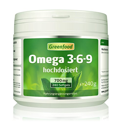 Omega 3-6-9, 700 mg, hochdosiert, 240 Softgel-Kapseln – reich an EPA, DHA. Gut für Herz, Kreislauf und die Cholesterinwerte. Fördert die geistige Leistungsfähigkeit. OHNE künstliche Zusätze. Ohne Gentechnik.