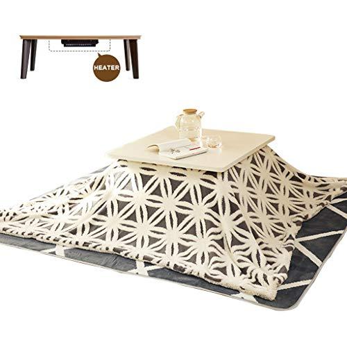 LZG Japanischer Kotatsu Tisch mit Heizung und Decke, Bettdecke, Tatami Futon Weißer Kaffee Tee Tisch Holz Quadrat Groß für Wohnzimmer Winter, Blauer Jacquard