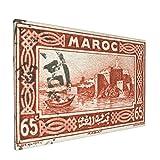 Sin Marco Mural Impresiones en Lienzo,Sello de Marruecos Vintage francés Rojo Que representa la Ciudad Capital de Rabat, Costa,Oficina en Casa Decoración Mural Pintura al óleo Arte de Moda,18' x 12'