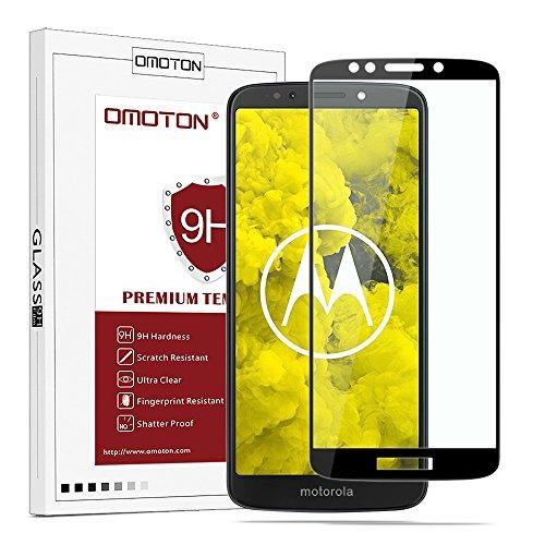 OMOTON Panzerglas Schutzfolie für Motorola Moto g6 Play, volle Bedeckung, Anti- Kratzer, Bläschenfrei, 9H Festigkeit, HD-Klar, [3D R&e Kante] (5,7 Zoll)-Schwarz