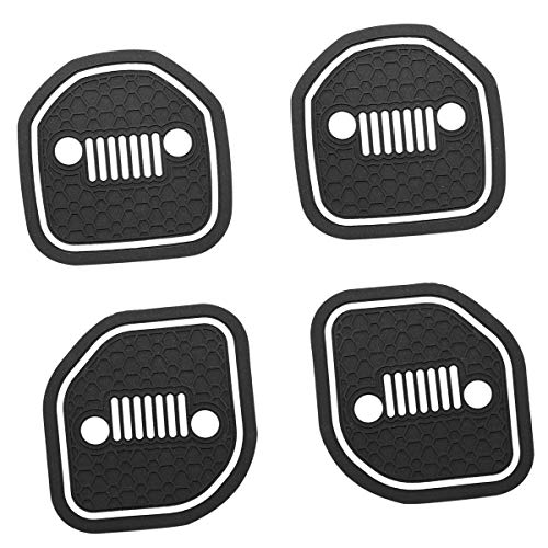 US-LXC(Glow-in-dark) Auto Cup Holder Coaster Insert:an Interior Accessory Fit for Sport &Rubicon of(Jeep Wrangler JL JLU &Gladiator JT)of 2018 2019 2020 2021,A Car Liner Mat,4pcs(Grille Pattern)-White