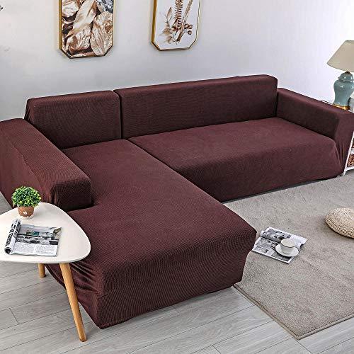 YUTJK Perro Sofá Cubre,Fundas de Asiento de sofá elásticas engrosadas,Funda de sofá elástica en Forma de L,Protector de sofá,Funda de sofá Throw-Chocolate_4_Seater