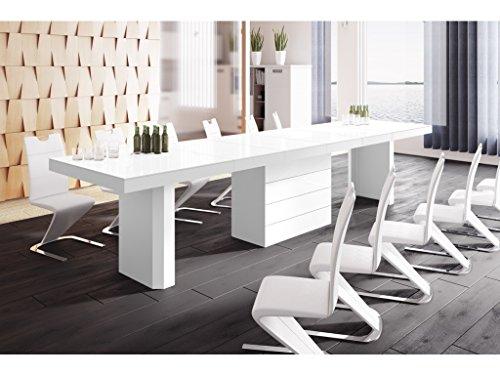 H MEUBLE Table A Manger Design Extensible (160 ÷ 223 ÷ 349 ÷ 412) CM X P : 100 CM X H: 75 CM – Blanc