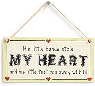 NWXO Wood Sign 5x10 inches His Little Hands Stole My Heart… - Baby Boy Newborn Gift Love Heart Sign