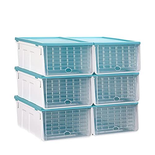 XIAOHUAHUA - Juego de 6 cajas de zapatos, de plástico, apilable, plegable, puerta frontal transparente, interruptor de adsorción magnética, color azul