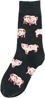 GUMEI, GUMEI Mujeres Divertidos Calcetines de Animales Shiba Inu Perro Gato Cerdo Estampado Feliz calcetería de Dibujos Animados