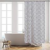 Furlinic Duschvorhang 120x180 Textil Badvorhang aus Polyester Stoff Schimmelresistent Wasserabweisend Waschbar Chevron Weiß mit 8 Duschvorhangringen.