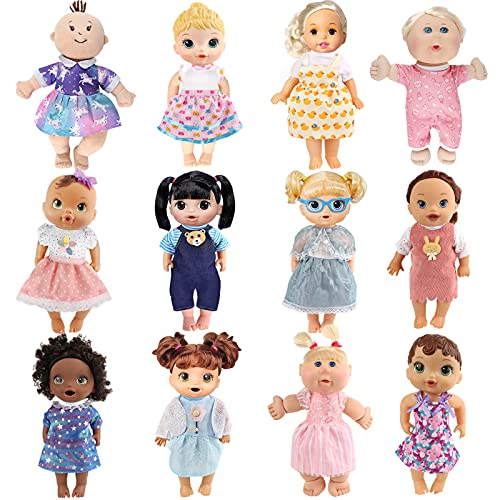 Girl Doll Clothes and Accessories - 12 Sets Doll Clothes Dress for 12 13 14 Inch Doll - Alive-Baby Doll Clothes - Pajamas Swimsuits for Baby Bitty Doll, Doll Outfits with Hat for American Doll Girl
