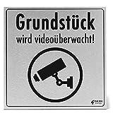 Gebürstetes Aluminium | Videoüberwachung Schild | 200x200mm | Dibond 3 mm | Grundstück Wird videoüberwacht | Hinweisschilder | (Standard)