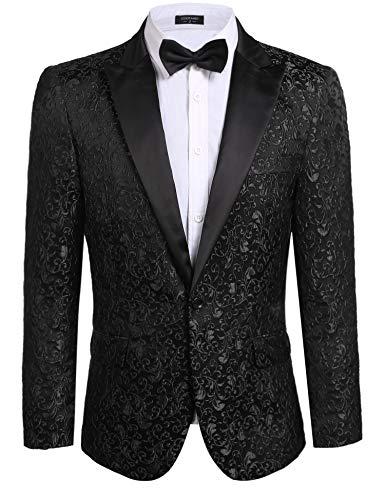 JINIDU Men's Floral Party Dress Suit Stylish Dinner Jacket Wedding Blazer Prom Tuxedo, Black, L
