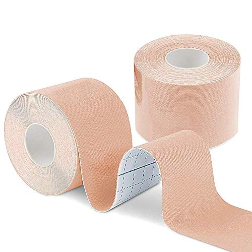 Boob Tape Hautfarbe (DIY Lift Boob Job, Push-up Breast) Kinesiologie Tape Körperband, Brustband, Bra Tape, Fußband, Professional Grade Tuch und wasserdicht, 5m x 5cm mit 2 Pack