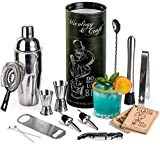 Mixology Bartender Kit: 14-Piece Bar tool Set For an Awesome Drink Mixing Experience - Cocktail Shaker Set w/Top Bar Tools - Perfect Home Bartending Kit - Exclusive Cocktail picks and Recipes Bonus