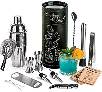 Mixology Bartender Kit  14-Piece Cocktail Shaker Set - Bar Tool Set For Home and Professional Bartending - Martini Shaker Set with Drink Mixing Bar Tools - Exclusive Cocktail Picks and Recipes Bonus
