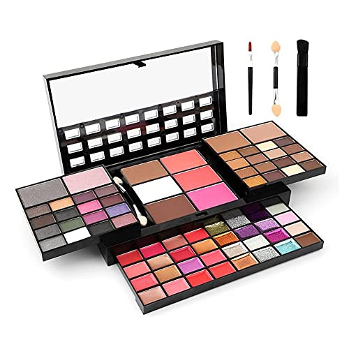 74 Colors Makeup Kit All In One Makeup Gift Set including 36 Eyeshadow Makeup,16 Lip Gloss,12 Glitter Cream, 4 Concealer, 3 Blusher,1 Bronzer, 2 Highlight and Contour - Makeup Kits for Women Full Kit