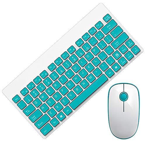 WOkismx Juego De Teclado para Mouse Inalámbrico 2.4Ghz Tecnología Inalámbrica Teclado para Juegos Luz para El Hogar Y Teclado Silencioso,4