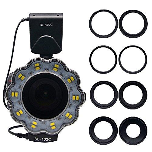 Venidice SL-102 Camera Manual Ring Light Flash, Macro LED Ring Flash(LCD Display) for 40.5mm, 52mm, 55mm, 58mm, 62mm, 67mm, 72mm, 77mm Lens DSLR Cameras